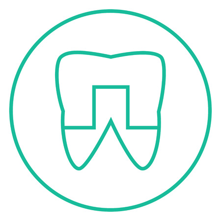 crowned: Crowned tooth thick line icon with pointed corners and edges for web, mobile and infographics. Vector isolated icon. Illustration