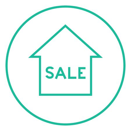 House for sale thick line icon with pointed corners and edges for web, mobile and infographics. Vector isolated icon. Illustration
