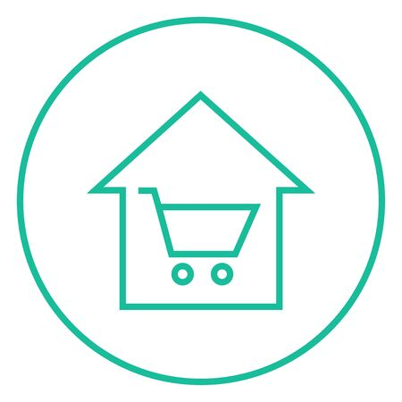 house shopping: House shopping thick line icon with pointed corners and edges for web, mobile and infographics. Vector isolated icon. Illustration