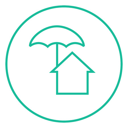 belay: House under umbrella thick line icon with pointed corners and edges for web, mobile and infographics. Vector isolated icon.