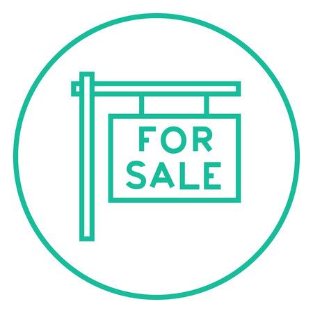 Te koop bord dikke lijn icoon met puntige hoeken en randen voor het web, mobiel en infographics. Vector geïsoleerde pictogram.