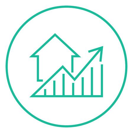 thick growth: Graph of real estate prices growth thick line icon with pointed corners and edges for web, mobile and infographics. Vector isolated icon.