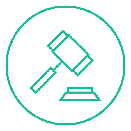 auction gavel: Auction gavel thick line icon with pointed corners and edges for web, mobile and infographics. Vector isolated icon. Illustration