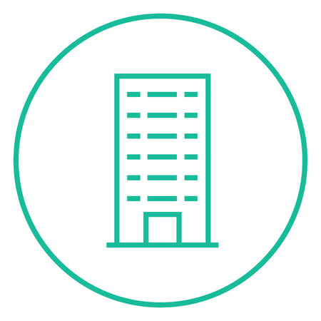 multi storey: Residential building thick line icon with pointed corners and edges for web, mobile and infographics. Vector isolated icon. Illustration