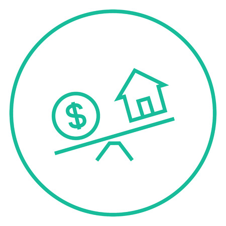 weigher: House and dollar symbol on scales thick line icon with pointed corners and edges for web, mobile and infographics. Vector isolated icon.