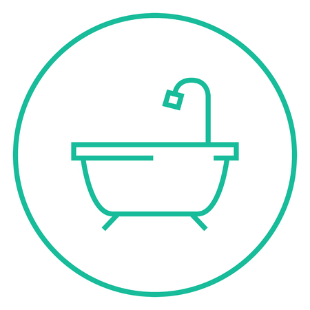 cleanliness: Bathtub with shower thick line icon with pointed corners and edges for web, mobile and infographics. Vector isolated icon. Illustration