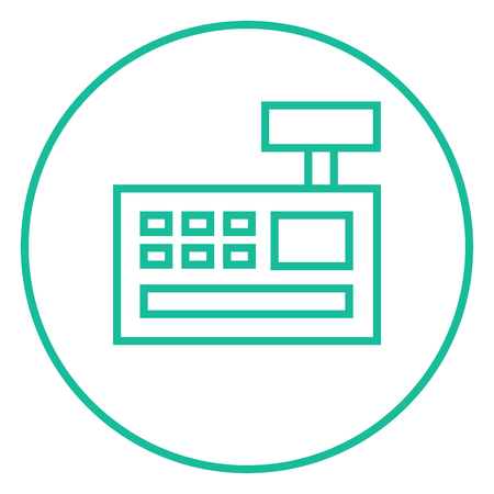 Cash register machine thick line icon with pointed corners and edges for web, mobile and infographics. Vector isolated icon. Illusztráció