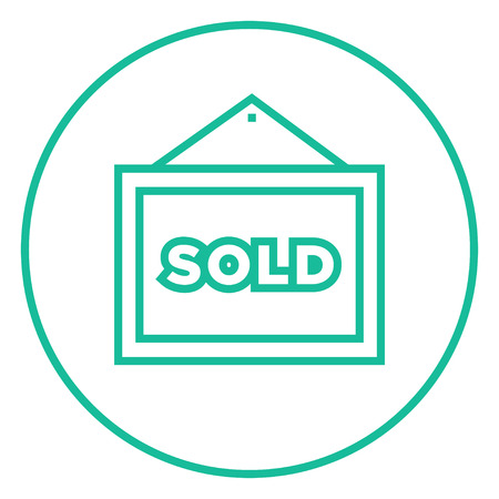 Sold placard thick line icon with pointed corners and edges for web, mobile and infographics. Vector isolated icon.