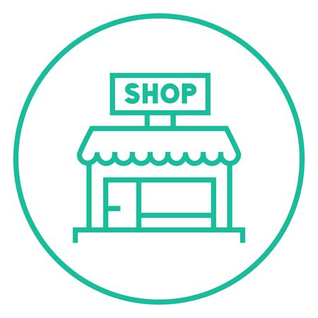 Shop thick line icon with pointed corners and edges for web, mobile and infographics. Vector isolated icon. Illustration