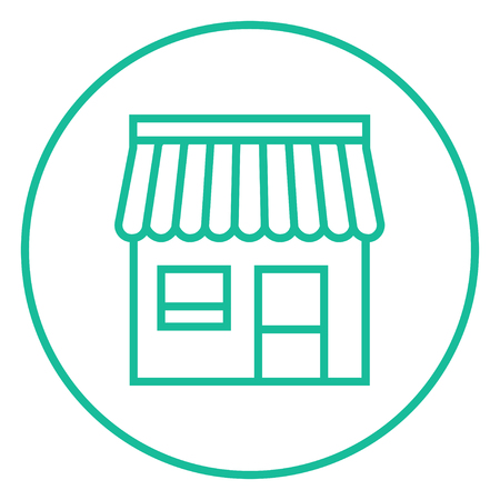 awnings windows: Shop thick line icon with pointed corners and edges for web, mobile and infographics. Vector isolated icon. Illustration