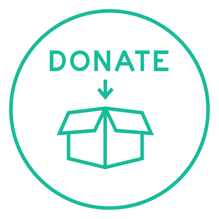 Ouvrez la boîte de don icône de la ligne épaisse avec des coins pointus et des bords pour le web, le mobile et infographies. Vector icône isolé.