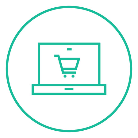 Laptop with a shopping cart on a screen thick line icon with pointed corners and edges for web, mobile and infographics. Vector isolated icon.