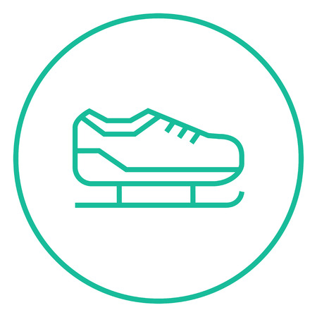 figureskating: Skate thick line icon with pointed corners and edges for web, mobile and infographics. Vector isolated icon.