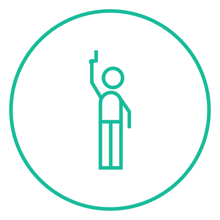 starting line: Man giving a signal with a starting gun thick line icon with pointed corners and edges for web, mobile and infographics. Vector isolated icon.