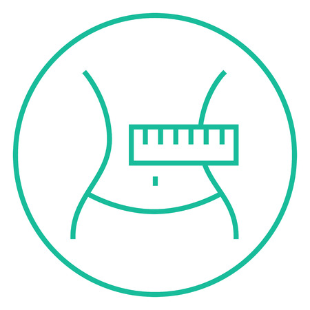 waist: Waist with measuring tape thick line icon with pointed corners and edges for web, mobile and infographics. Vector isolated icon.