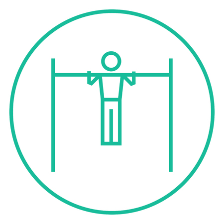 gripping bars: Gymnast exercising on the bar thick line icon with pointed corners and edges for web, mobile and infographics. Vector isolated icon. Illustration