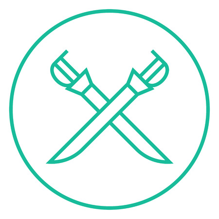 Crossed saber thick line icon with pointed corners and edges for web, mobile and infographics. Vector isolated icon. Illustration