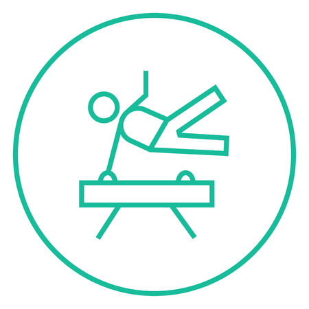 pommel: Gymnast exercising on the pommel horse thick line icon with pointed corners and edges for web, mobile and infographics. Vector isolated icon.