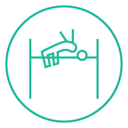 high jump: High jump thick line icon with pointed corners and edges for web, mobile and infographics. Vector isolated icon. Illustration