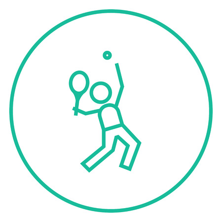 Man playing big tennis thick line icon with pointed corners and edges for web, mobile and infographics. Vector isolated icon.