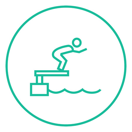 diving platform: Swimmer jumping from starting block in pool thick line icon with pointed corners and edges for web, mobile and infographics. Vector isolated icon.