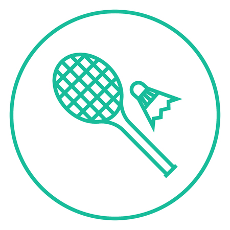 Shuttlecock and badminton racket thick line icon with pointed corners and edges for web, mobile and infographics. Vector isolated icon. Illustration