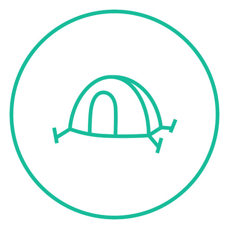 Tent thick line icon with pointed corners and edges for web, mobile and infographics. Vector isolated icon.