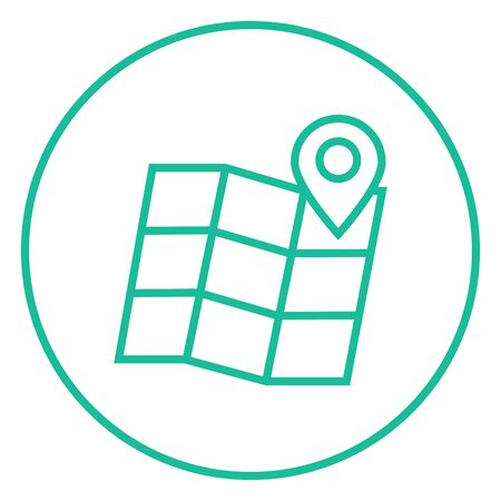 locate: Map with pointer thick line icon with pointed corners and edges for web, mobile and infographics. Vector isolated icon. Illustration