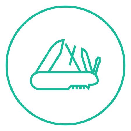 multipurpose: Multipurpose knife thick line icon with pointed corners and edges for web, mobile and infographics. Vector isolated icon.
