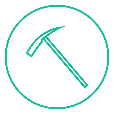 pickaxe: Ice pickaxe thick line icon with pointed corners and edges for web, mobile and infographics. Vector isolated icon.