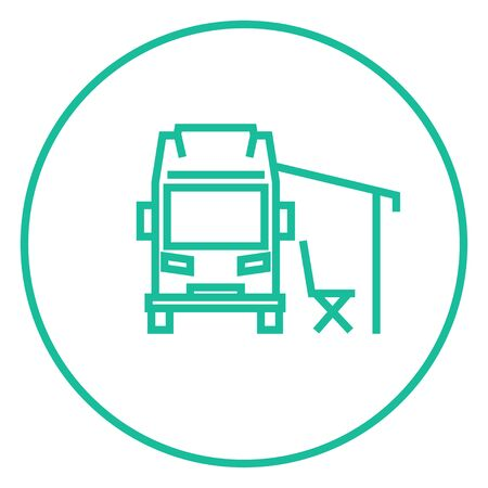 motorhome: Motorhome with tent thick line icon with pointed corners and edges for web, mobile and infographics. Vector isolated icon.