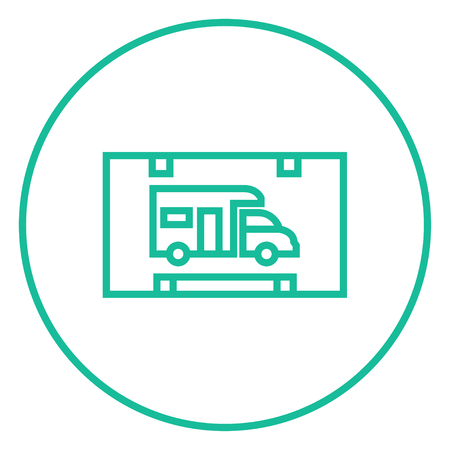rv: RV camping sign thick line icon with pointed corners and edges for web, mobile and infographics. Vector isolated icon. Illustration