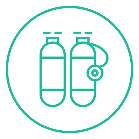 pressure bottle: Oxygen tank thick line icon with pointed corners and edges for web, mobile and infographics. Vector isolated icon.