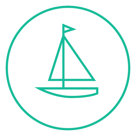Sailboat thick line icon with pointed corners and edges for web, mobile and infographics. Vector isolated icon. 向量圖像