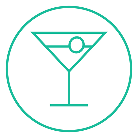 Cocktail glass thick line icon with pointed corners and edges for web, mobile and infographics. Vector isolated icon.