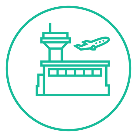 avia: Plane taking off thick line icon with pointed corners and edges for web, mobile and infographics. Vector isolated icon.