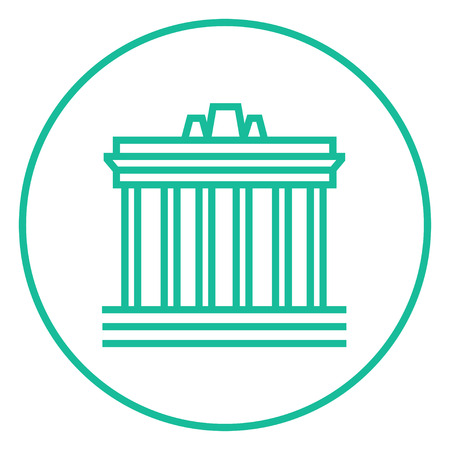 Acropolis of Athens thick line icon with pointed corners and edges for web, mobile and infographics. Vector isolated icon. Illustration
