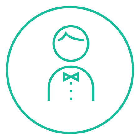 hospitality staff: Waiter thick line icon with pointed corners and edges for web, mobile and infographics. Vector isolated icon.