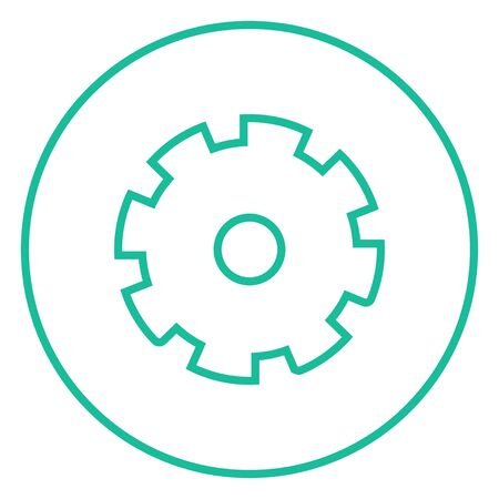 Gear thick line icon with pointed corners and edges for web, mobile and infographics. Vector isolated icon.