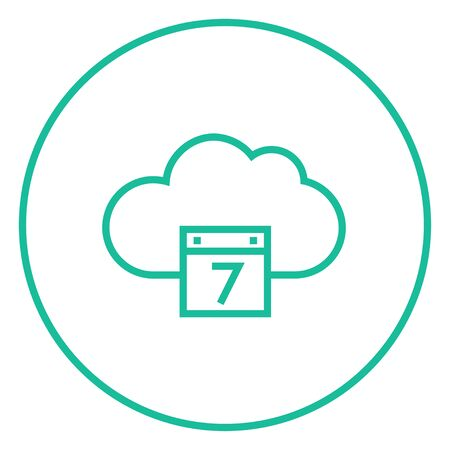 Cloud calendar thick line icon with pointed corners and edges for web, mobile and infographics. Vector isolated icon.