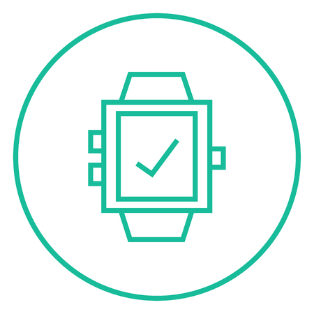 Smartwatch with check sign thick line icon with pointed corners and edges for web, mobile and infographics. Vector isolated icon.