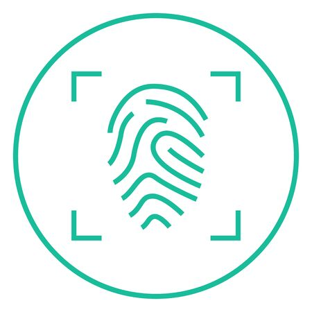 fingertip: Fingerprint scanning thick line icon with pointed corners and edges for web, mobile and infographics. Vector isolated icon.