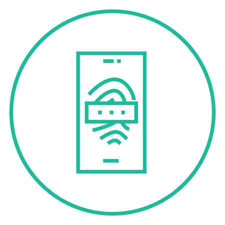 Mobile phone scanning a fingerprint thick line icon with pointed corners and edges for web, mobile and infographics. Vector isolated icon.