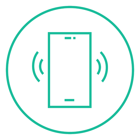 vibrating: Vibrating phone thick line icon with pointed corners and edges for web, mobile and infographics. Vector isolated icon. Illustration