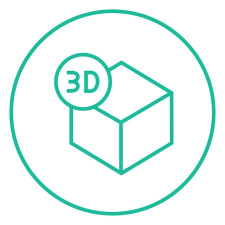 perspectiva lineal: Tres caja D icono de línea gruesa con esquinas puntiagudas y bordes para web, móvil y la infografía. aislado vector icono.