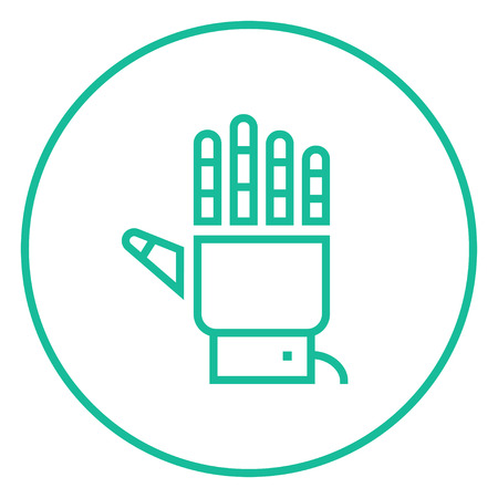 cybernetics: Robot hand thick line icon with pointed corners and edges for web, mobile and infographics. Vector isolated icon.