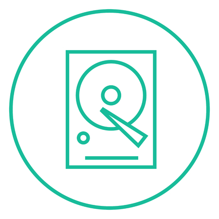 terabyte: Hard disk thick line icon with pointed corners and edges for web, mobile and infographics. Vector isolated icon. Illustration