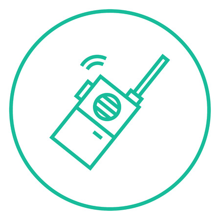 portable radio: Portable radio set thick line icon with pointed corners and edges for web, mobile and infographics. Vector isolated icon.