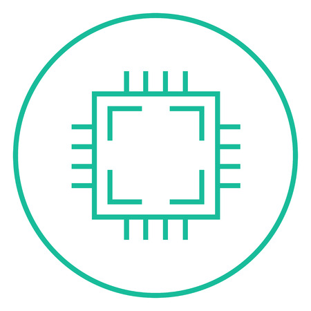 尖った角と web、モバイル、インフォ グラフィックのエッジを持つ CPU 太い線アイコン。ベクトル分離アイコン。  イラスト・ベクター素材