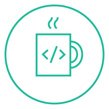 ean: Cup of coffee with a code sign thick line icon with pointed corners and edges for web, mobile and infographics. Vector isolated icon.